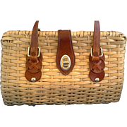 Wicker Purse Leather Straps Trim Natural Color