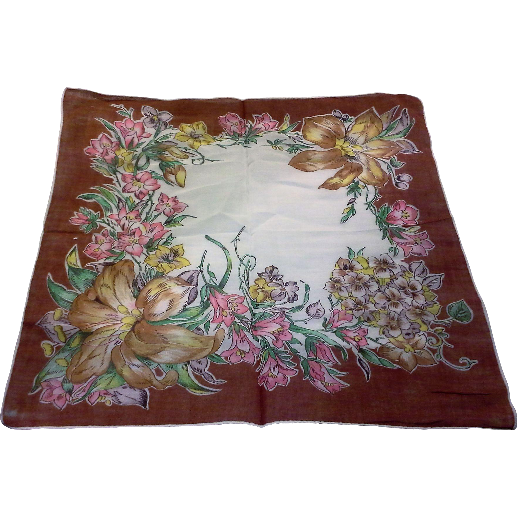 Brown Edge Fall Colors Floral Cotton Lawn Handkerchief Hanky Ladies