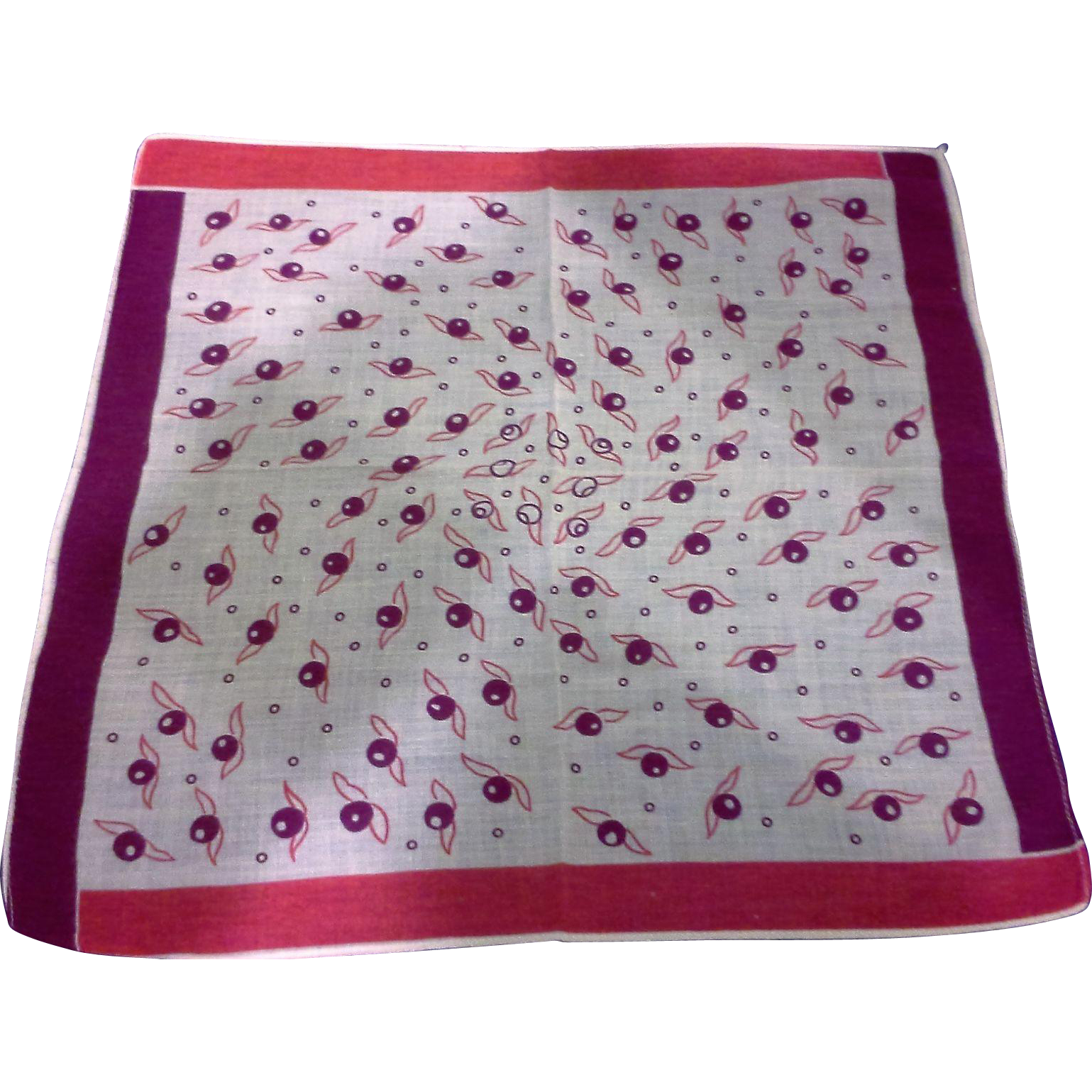 Red Print Cotton Lawn Ladies Handkerchief Hanky