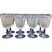 Fostoria Diamond Point Clear Glass Wine Glasses 5 1/2 IN Set of 8