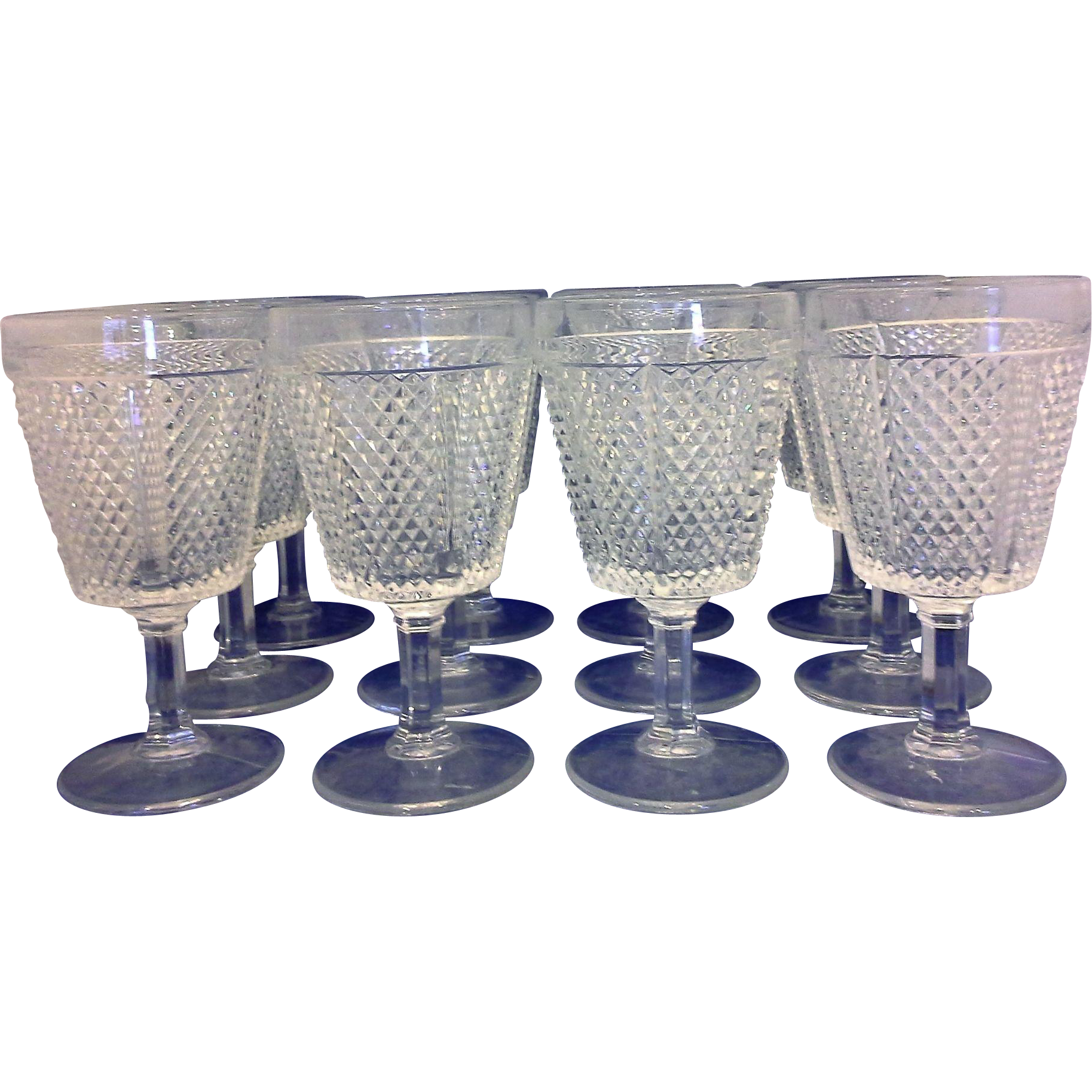 Fostoria Diamond Point Water Goblets Glasses Set of 12