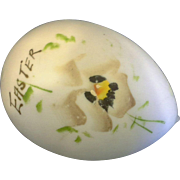 Victorian Antique Hand Blown Opaline Milk Glass Easter Egg Hand Painted Pansy