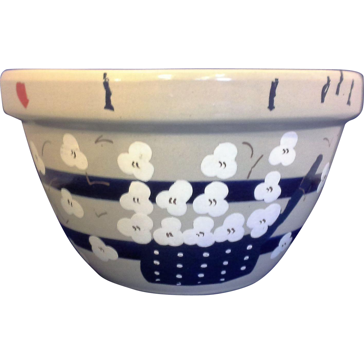 RRP Co Robinson Ransbottom Williamsburg Shoulder Blue Stripe 9 IN Mixing Bowl Hand Painted Popcorn