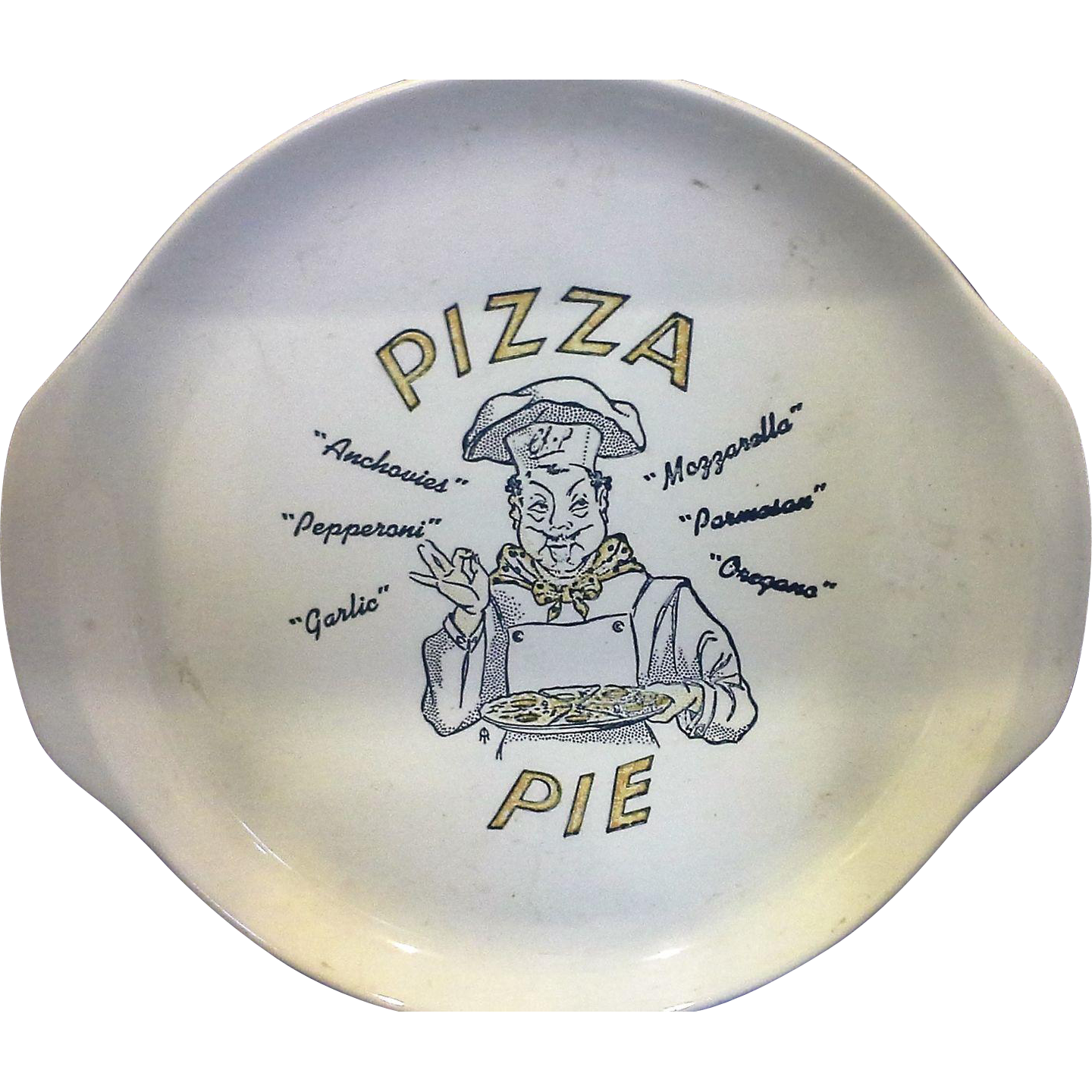 Pizza Pie Tab Handle Large Plate 13 1/4 IN Universal Pottery Pale Green