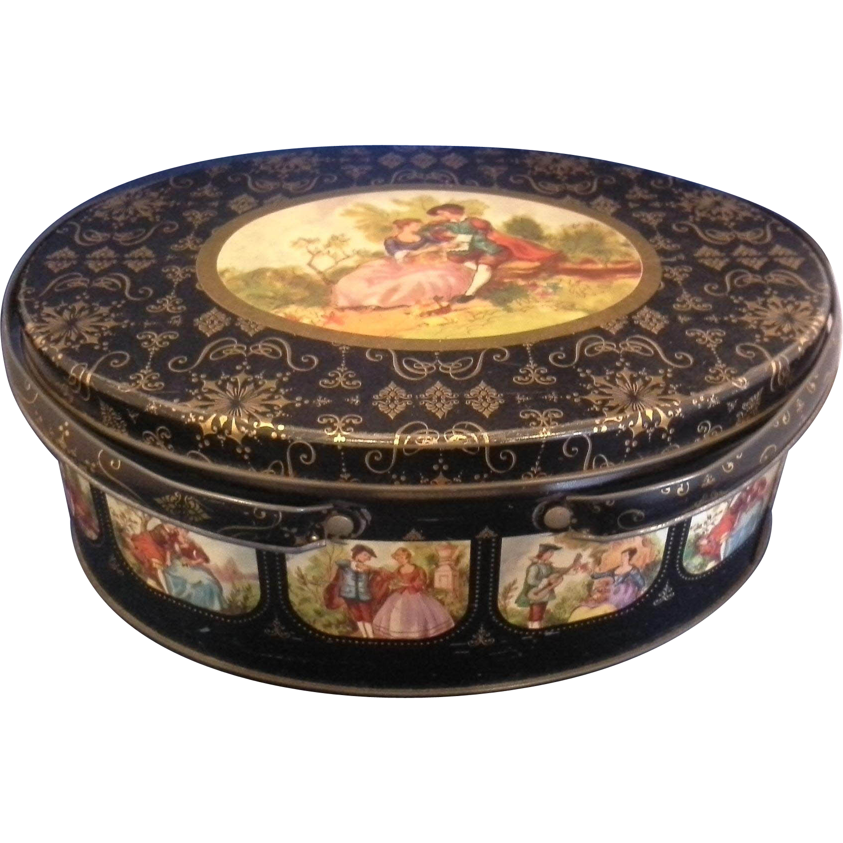 Fragonard Scene Black Gold Oval Tin Double Handle Basket Sewing Lunch Picnic
