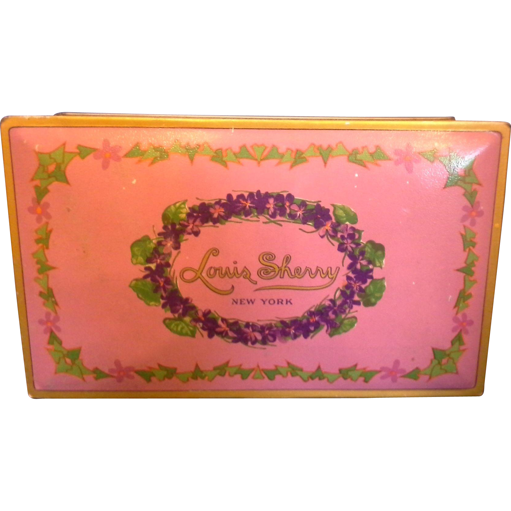 Beautebox Canco Louis Sherry Candy Box Tin Vintage 1920s Pink Purple