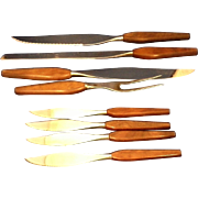 Mid Century Danish Modern 1960s Knives Set Wooden Handles 12 Pcs
