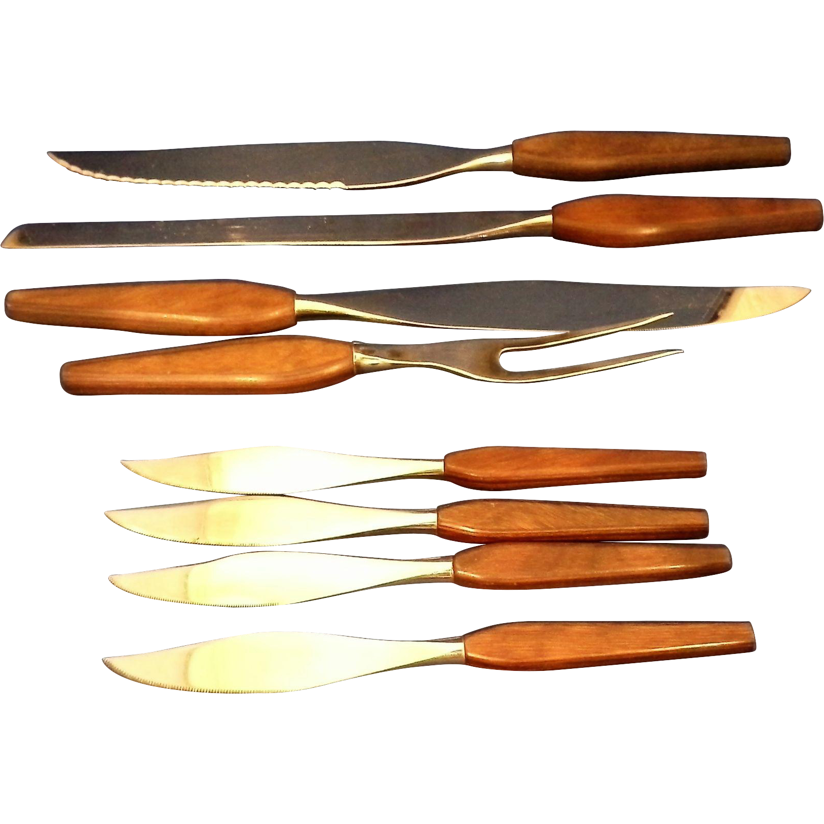 Mid Century Danish Modern 1960s Knives Set Wooden Handles 12 Pcs