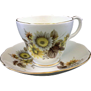 Duchess Bone China Yellow Brown Floral Cup Saucer