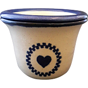 Brinker Pots Pottery Dip Crock Two Piece Blue Heart Pattern