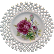 Lefton Hand Painted Roses Lattice Edge White Porcelain Plate