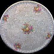 Hollinshead Kirkham H & K Tunstall England Cake Plate Gold Brocade Fruits Floral