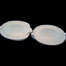 Anchor Hocking Vitrock White Milk Glass Flower Rim Oval Cream Sugar Pair Depression Glass