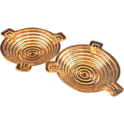 Anchor Hocking Manhattan Depression Glass Ashtrays Pair Small Round