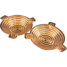 Anchor Hocking Manhattan Depression Glass Ashtrays Pair Small Round