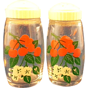 Cherries Cherry Blossoms Clear Glass Salt Pepper Shakers White Plastic Lids