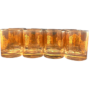 Libbey Gold Twig Bramble Rocks Tumblers Set of 7