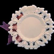 Westmoreland White Milk Glass Eagle Flag Fleur De Lis 7 1/4 IN Plate