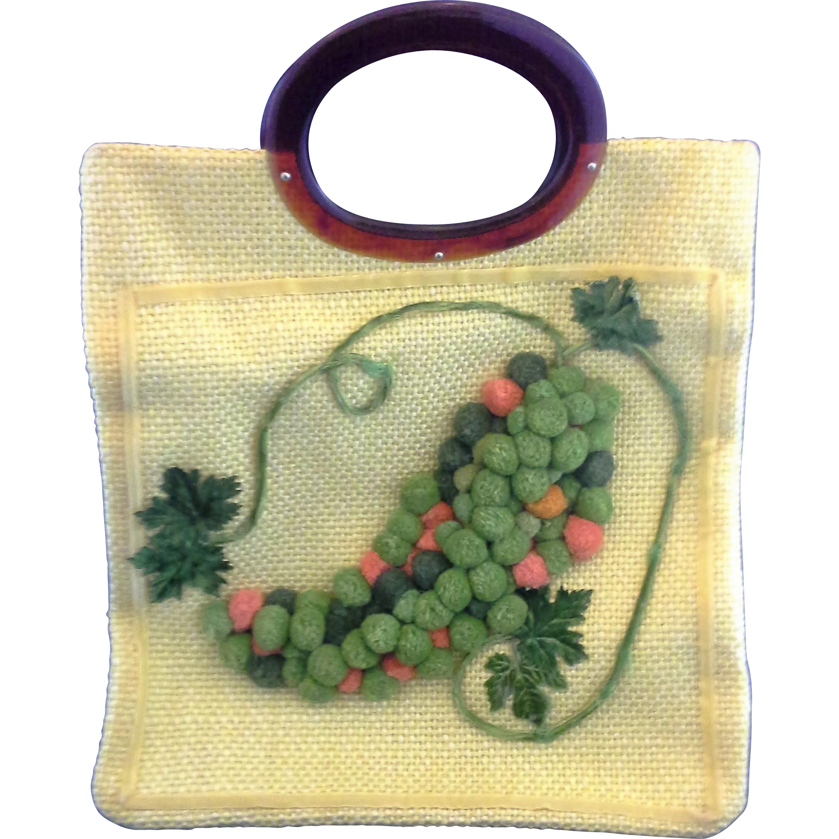 JR Julian Resnick Yellow Burlap Chenille Grapes Root Beer Lucite Handle Purse Handbag