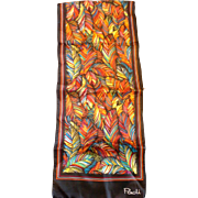 Paoli Bright Multicolor Feather Print Oblong Scarf Narrow Fringe
