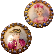 Victorian Hand Painted Buttons Lady Gentleman Portrait Miniatures