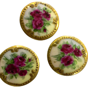 Victorian Hand Painted Buttons Roses Gold Trim Set of Three