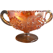 Dugan Diamond Marigold Carnival Glass Floral & Wheat Bonbon Handled Cup Compote