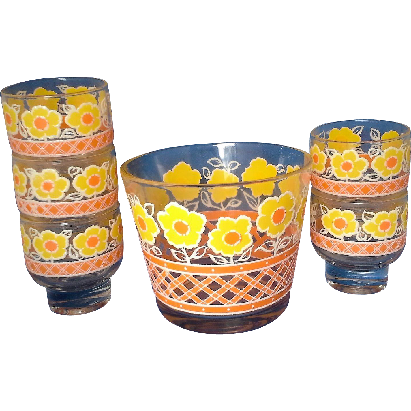 Daisy Yellow Orange Flowers Ice Bucket Tumblers Set 1980s