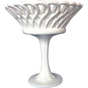 Milk Glass Rope Lace Lattice Edge Compote Tall Pillar Pedestal