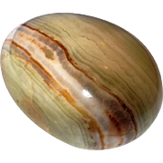 Green Brown Stripe Onyx Carved Stone Egg 3 IN - Red Tag Sale Item