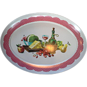Brookpark Wine Cheese Fruit Red Check Border Melmac Oval Turkey Platter