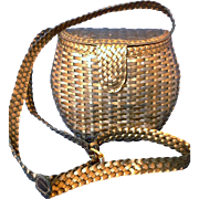 CEM Brazil Woven Leather Basket Purse Gold Bronze Silver