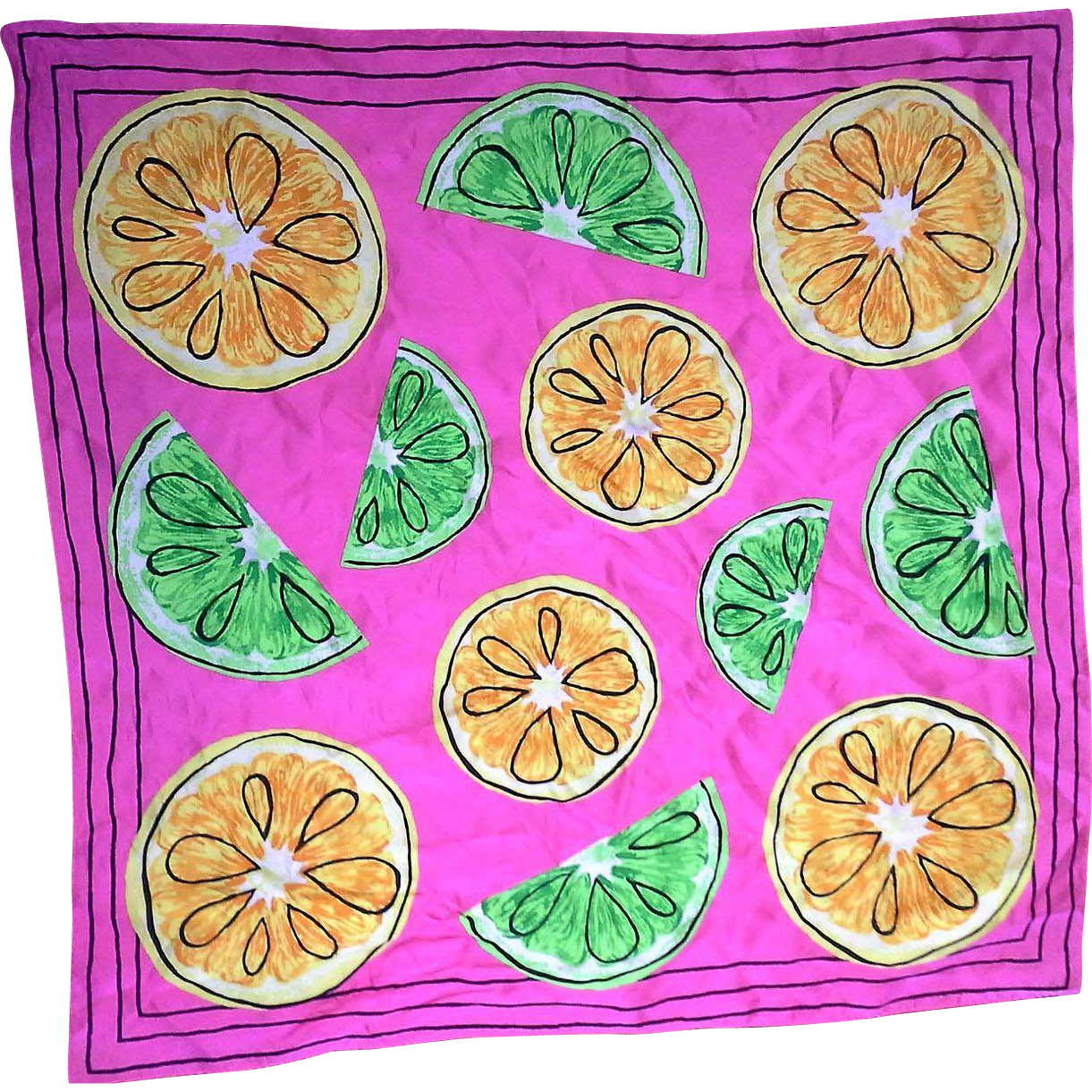 Bright Pink Citrus Print Silk Scarf Limes Lemons 27 IN Square