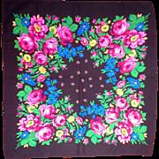 Glentex Black Bright Floral Scarf Made in Japan 27 IN