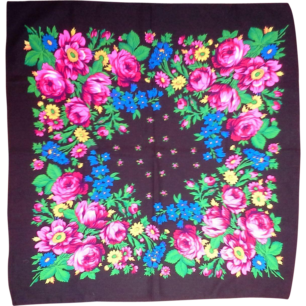 Glentex Black Bright Floral Scarf Made in Japan 27 IN