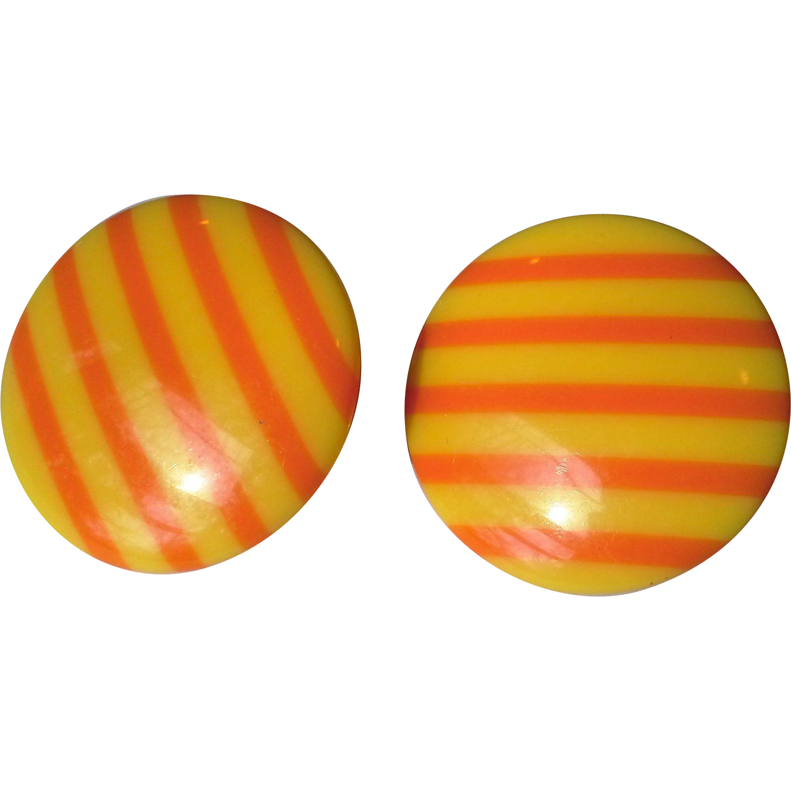 Yellow Orange Stripe Lucite Disc Clip Earrings