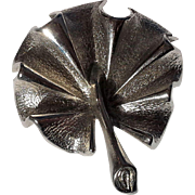 Sarah Coventry Silver Tone Palm Frond Leaf Pin Brooch