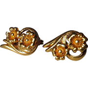 Monet Gold Tone Double Flower Clip Earrings