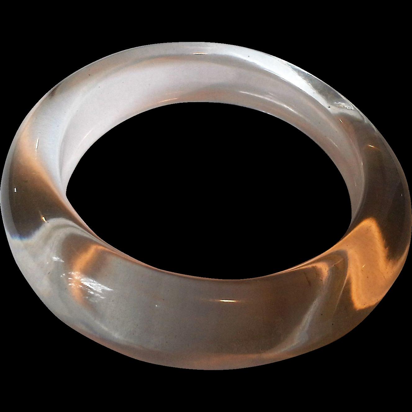 Clear Lucite Bangle Bracelet Domed Chunky Slightly Irregular Shape
