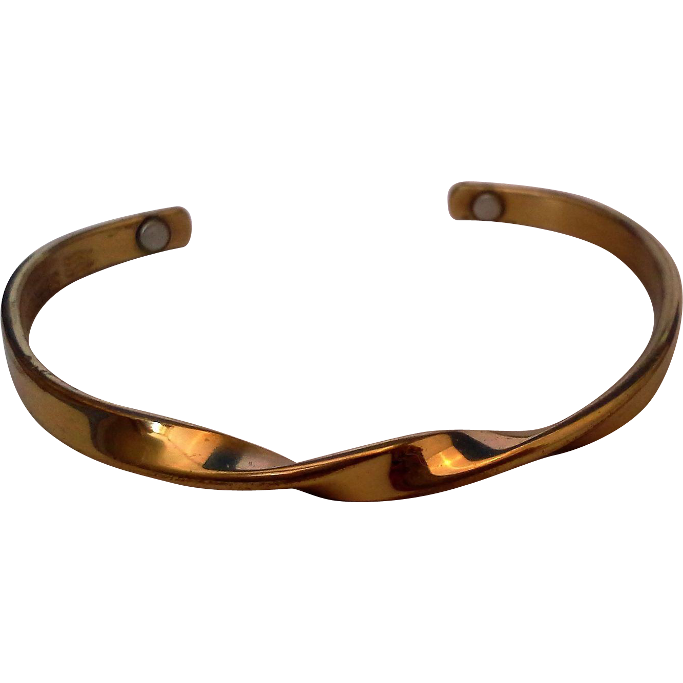 Sergio Luz Golden Eternity Twisted Brass Cuff Bracelet Magnetic Therapy