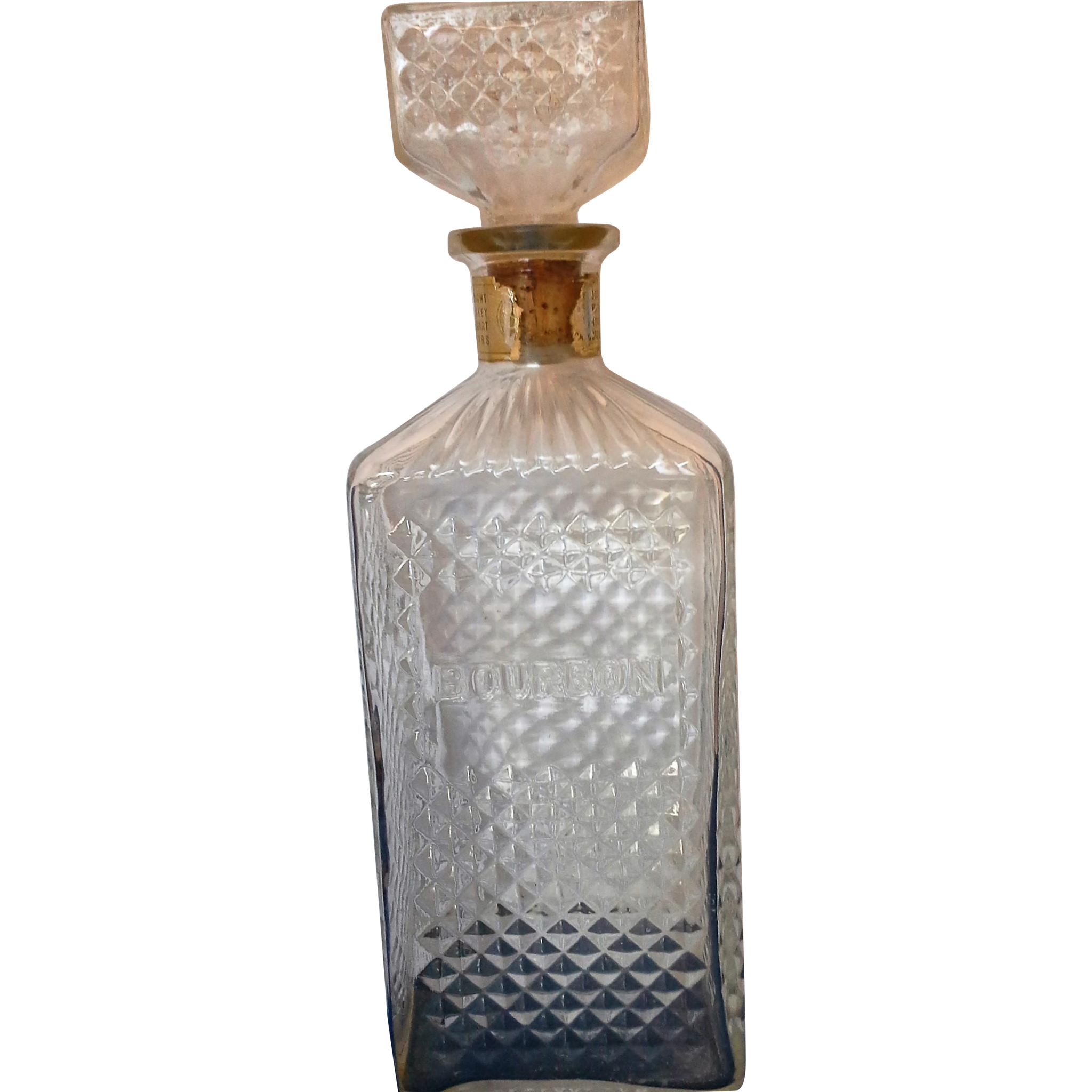 Bourbon Pressed Glass Diamond Waffle Pattern Liquor Bottle Decanter