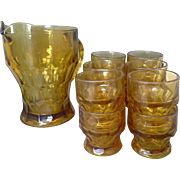 Anchor Hocking Amber Georgian Honeycomb Pitcher Juice Glasses Set of 12