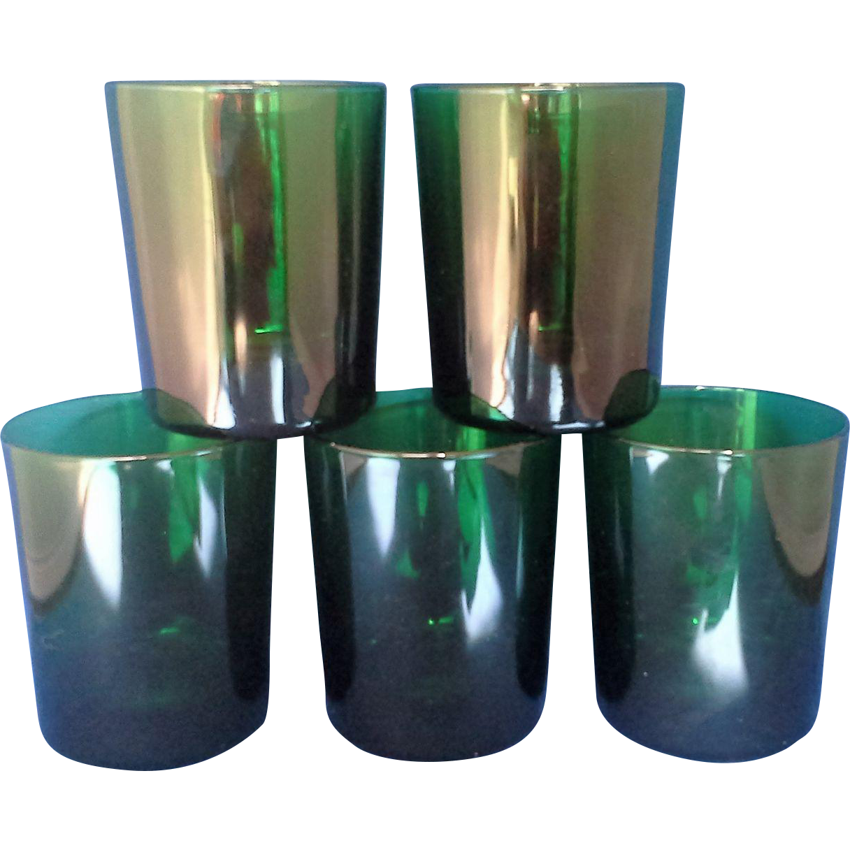 Emerald Green Glass Tumblers Set of 4 Reims France