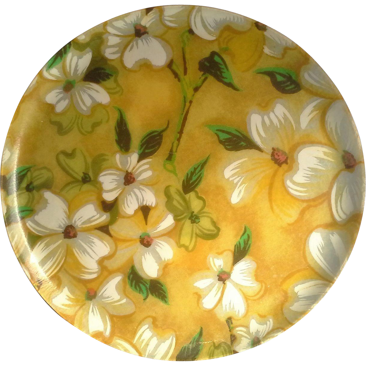 Traymold Fiberglass Yellow White Floral Round Tray Plate Vintage 11 IN