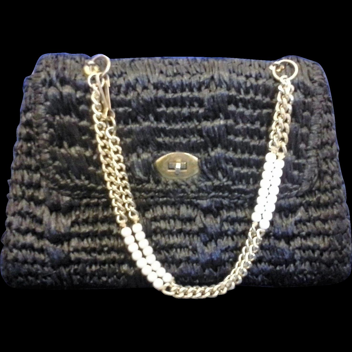 Gaymode Vintage Black Raffia Purse Handbag Chain Handle