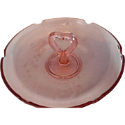 Pink Depression Greensburg Glass Tidbit Bonbon Ashtray Center Heart Handle
