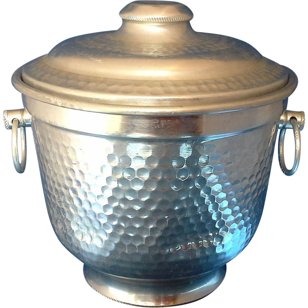Hammered Aluminum Ice Bucket Italy