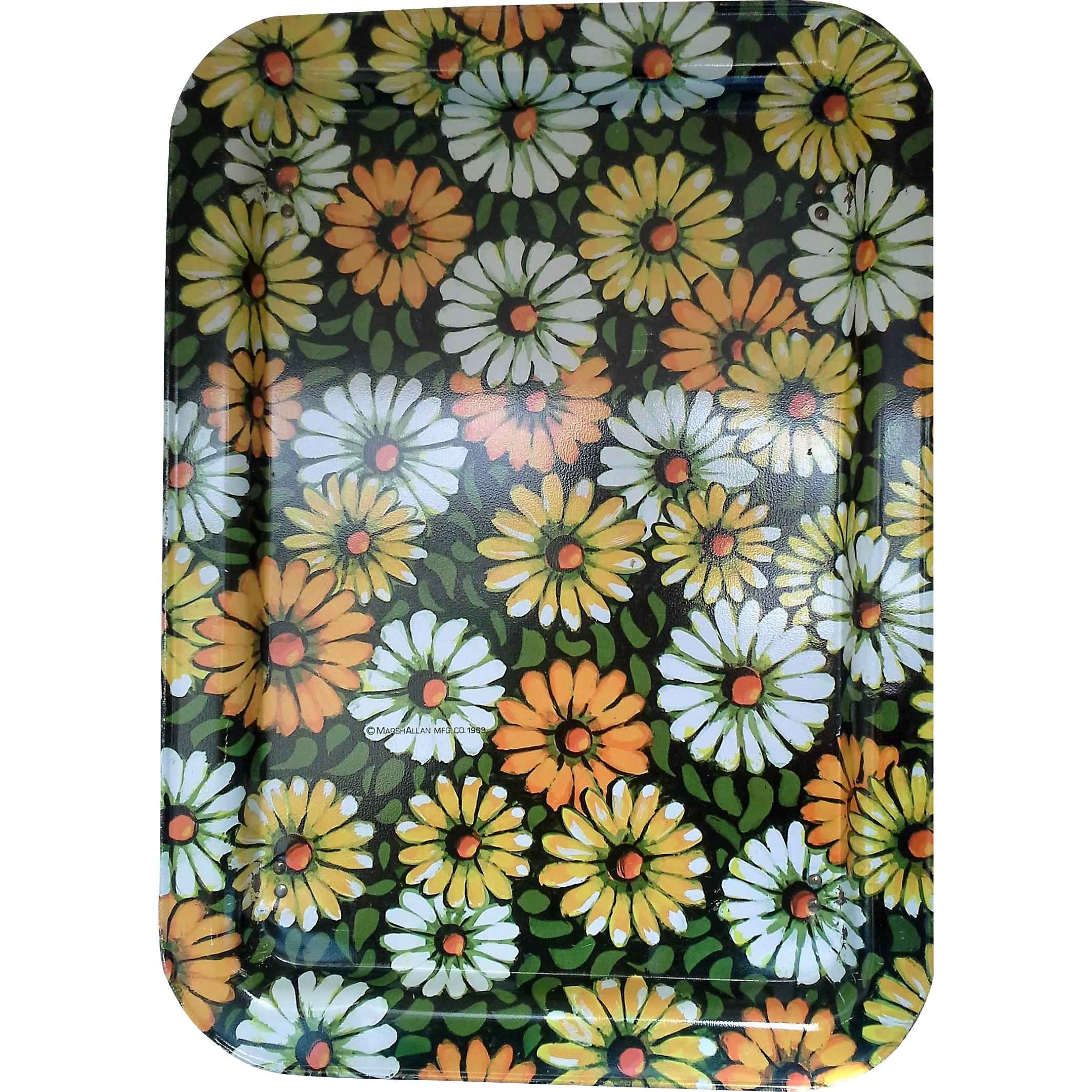 Marshallen Marsh Allen Yellow Orange Green White Daisies Bed Lap Tray Flower Power