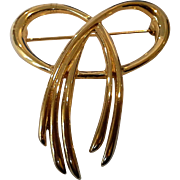Crown Trifari Gold Tone Bow Pin Brooch