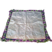 White Linen Crocheted Lace Purple Green Border Hanky Handkerchief